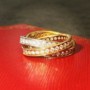 Cartier Trinity Tricolor Diamond Ring w/ Box & Cer